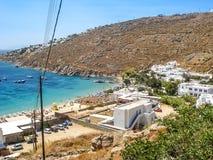 Vista de la playa del paraíso en Mykonos Foto de archivo
