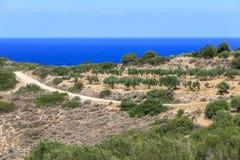 Vista de la playa en la isla de Creta Grecia Foto de archivo libre de regalías