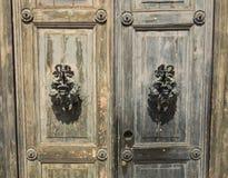 Vista de la puerta vieja del vintage que adorna Imágenes de archivo libres de regalías