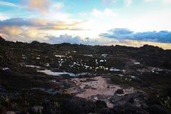 Vista de la puesta del sol desde arriba del soporte Roraima fotos de archivo libres de regalías