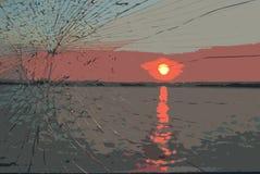 Vista de la puesta del sol en el r?o ilustración del vector