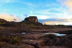 Vista de la puesta del sol y de la vegetación desde arriba del soporte Roraima fotos de archivo libres de regalías
