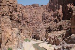 Vista de la ruta en el Siq, mujib de la reserva, Jordania Fotografía de archivo libre de regalías