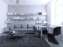 Vista de la sala de estar con la mesa de comedor Imágenes de archivo libres de regalías