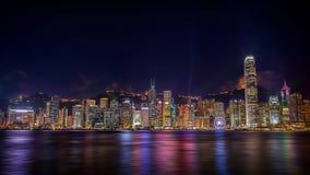 Vista de la sinfonía de luces en Hong-Kong Imagenes de archivo