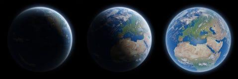 Vista de la tierra azul del planeta en eleme de la representación de la colección 3D del espacio Imagenes de archivo