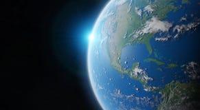 Vista de la tierra azul del planeta en elementos de la representación del espacio 3D de esto Imagen de archivo libre de regalías