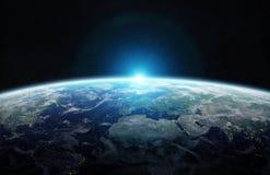 Vista de la tierra azul del planeta en elementos de la representación del espacio 3D de esto Fotografía de archivo