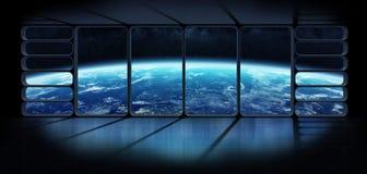 Vista de la tierra del planeta de un renderi enorme de la ventana 3D de la nave espacial Fotografía de archivo libre de regalías