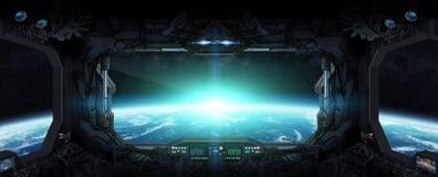 Vista de la tierra del planeta por dentro de una estación espacial Foto de archivo
