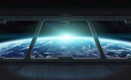 Vista de la tierra del planeta por dentro de una estación espacial 3D que rinde el EL Imagen de archivo libre de regalías