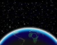 Vista de la tierra en la noche stock de ilustración