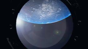 Vista de la tierra a trav?s de la porta de la nave espacial Estaci?n espacial internacional stock de ilustración