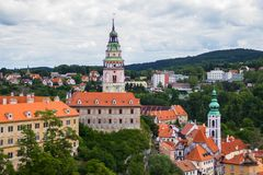 Vista de la torre del castillo de Cesky Krumlov, República Checa Fotos de archivo