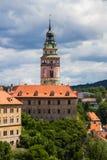 Vista de la torre del castillo de Cesky Krumlov, República Checa Imagenes de archivo