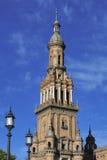 Torre del norte en la plaza de Espana (cuadrado) de España, Sevilla, Spai imagen de archivo libre de regalías