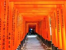 Vista de la trayectoria japonesa del torii en Kyoto, Japón fotografía de archivo