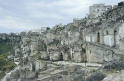 Vista de la vieja parte de Matera, Italia Imagen de archivo