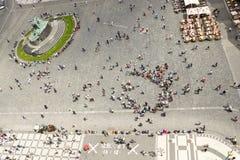 Vista de la vieja plaza en Praga desde arriba Imagen de archivo