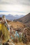 Vista de las banderas y de la pagoda del rezo en Drak Yerpa, Tíbet Foto de archivo