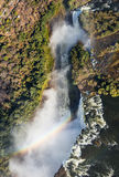 Vista de las caídas de una altura del vuelo del pájaro Victoria Falls parque nacional Mosi-oa-Tunya Zambiya y sitio del patrimoni Fotografía de archivo libre de regalías