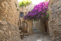 Vista de las casas de piedra en la fortaleza medieval Foto de archivo