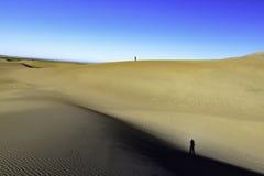Vista de las dunas de arena con la sombra del ` s del photogapher Imágenes de archivo libres de regalías