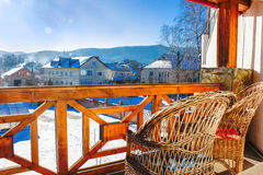 Vista de las montañas del balcón caliente Imágenes de archivo libres de regalías
