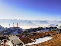 Vista de las montañas desde arriba de Rigi Kulm Fotografía de archivo libre de regalías