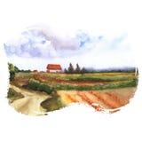 Vista de las tierras de labrantío Fotografía de archivo