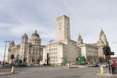 Vista de las tres tolerancias en Pier Head, Liverpool, Reino Unido Fotografía de archivo libre de regalías