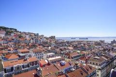 Vista de Lisboa da parte superior do looko de Santa Justa do elevador fotos de stock royalty free