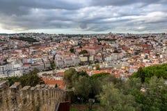 Vista de Lisboa del santo George Castle fotografía de archivo
