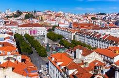 Vista de Lisboa de Santa Justa Elevator, Portugal Fotografia de Stock