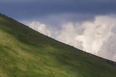 Vista de longe do iluminado pela montanha Hoverla do sol do verão com lotes o imagem de stock