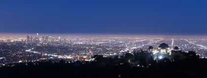 Vista de Los Ángeles del Hollywood Hills Foto de archivo