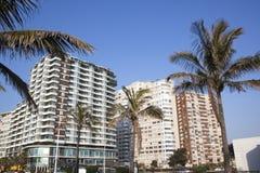 Vista de los hoteles frente al mar de la milla de oro, Durban Suráfrica Imagen de archivo