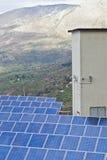 Vista de los paneles solares en las montañas de Madonie Imágenes de archivo libres de regalías