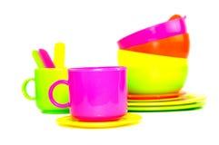 Vista de los utensilios plásticos de la cocina Imagenes de archivo