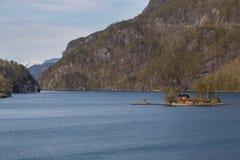 Vista de Lovrafjorden Imagem de Stock Royalty Free