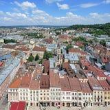 Vista de Lviv da torre da câmara municipal, Ucrânia Foto de Stock Royalty Free