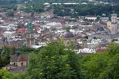 Vista de Lviv do monte do castelo, Ucrânia Fotografia de Stock