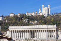 Vista de Lyon con el cathedrale y el tribunal Foto de archivo