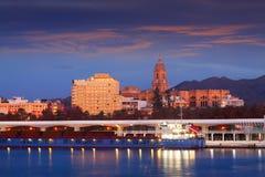 Vista de Málaga del puerto imagen de archivo libre de regalías