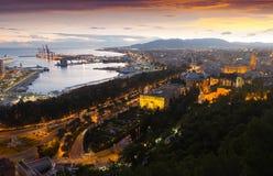 Vista de Málaga y mediterráneo aéreos Foto de archivo