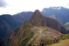 Vista de Machu Picchu y de Huayna Pichhu de Inca Trail Imágenes de archivo libres de regalías