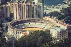 Vista de Malaga com praça de touros e porto spain Imagens de Stock