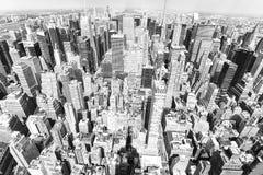 Vista de Manhattan da plataforma de observação do ` s do arranha-céus Yo novo foto de stock royalty free