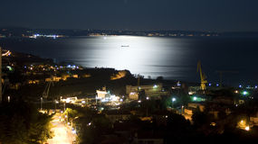 Vista de medianoche de la bahía de Kvarner Imágenes de archivo libres de regalías