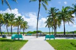 Vista de Miami Beach con las palmeras Imágenes de archivo libres de regalías